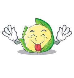 tongue out cauliflower character cartoon style vector image