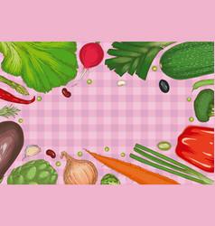 vegetable frame menu template vector image