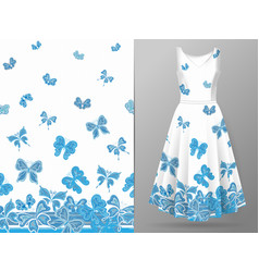 Vertical seamless pattern with hand draw butterfly vector