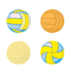 Voleyball ball icon set cartoon style vector