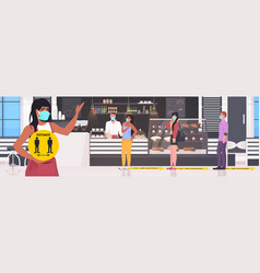 waitress in mask holding yellow sign keeping vector image