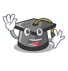 Waving graduation hat character cartoon vector