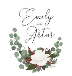 Wedding floral watercolor style invitation card vector