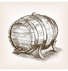 Wine barrel sketch style vector image