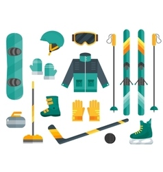 Winter sports equipment set- ski curling skates vector