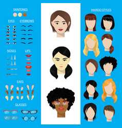 Woman face constructor set female character vector