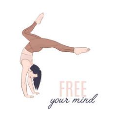 yoga balance sketch woman hand standing vector image