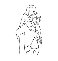 young man giving a piggy back ride to his vector image
