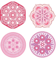 Indian ornaments kaleidoscopic floral pattern vector