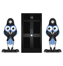 POLICE GUARDING DOOR vector image