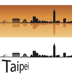 Taipei skyline in orange background vector image vector image