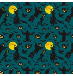 witch on a broomstick under a full moon with vector image vector image