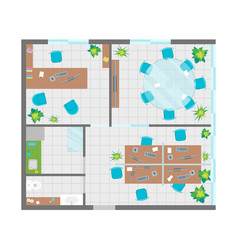 architecture office plan with furniture top view vector image