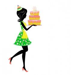 birthday cake vector image vector image