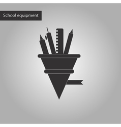 black and white style icon of pencil pen ruler vector image