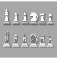 chess pieces including king queen rook pawn vector image