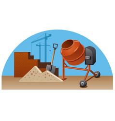construction work with tools vector image