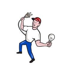 Electrician hold electric plug and bulb cartoon vector