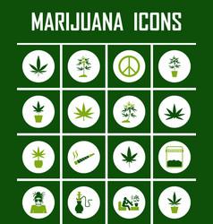 marijuana icon set vector image vector image