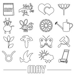may month theme set of simple outline icons eps10 vector image vector image