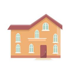 three storey building with oval windows and door vector image