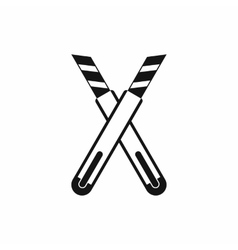 Two construction utility knives icon simple style vector