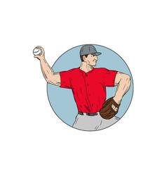 american baseball pitcher throwing ball circle vector image vector image