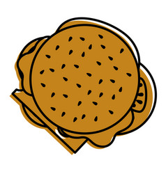 burger fast food delicious top view vector image