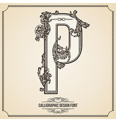 Calligraphic font Letter P vector image vector image