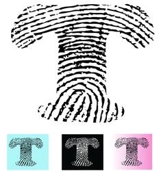 Fingerprint alphabet letter t vector