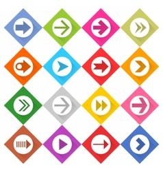 Flat arrow icon set web rhomb button vector