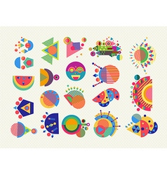 Set geometry element symbol abstract colorful vector image