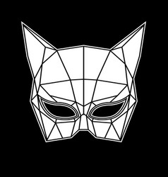 black and white cat woman mask graphics triangles vector image vector image