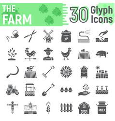 farm glyph icon set farming symbols collection vector image