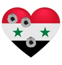 Flag of Syria Syria Heart pierced by bullets vector image