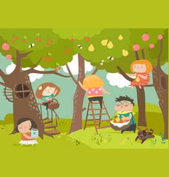 Happy children harvesting vector