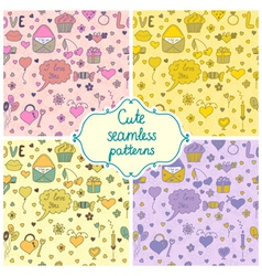 Set of romantic seamless pattern in vector image