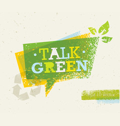 talk green eco speech bubble on organic paper vector image vector image