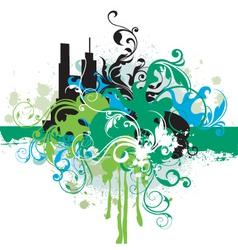 urban floral grunge vector image vector image