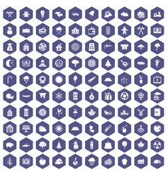 100 lumberjack icons hexagon purple vector image