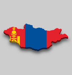 3d isometric map mongolia with national flag vector image