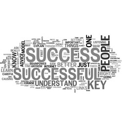 A key to success text word cloud concept vector