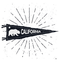 Adventure pennant vintage hand drawn flag vector