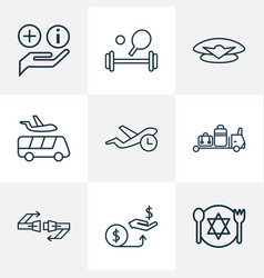 Airport icons line style set with sport equipment vector