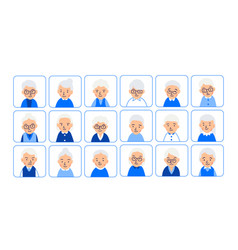 Avatars elderly women of heads of pensioner in vector