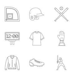 Baseball championship icons set outline style vector