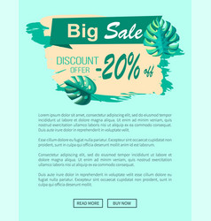 big sale and discount offer with 20 off banner vector image
