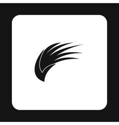 Black long birds wing with feathers icon vector