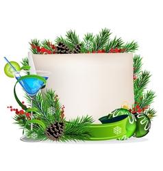 Blue cocktail and Christmas wreath vector