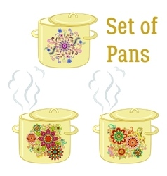 Boiling Pans with Patterns vector image